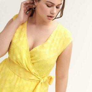 Love & Legend Yellow Faux-Wrap Dress 1X